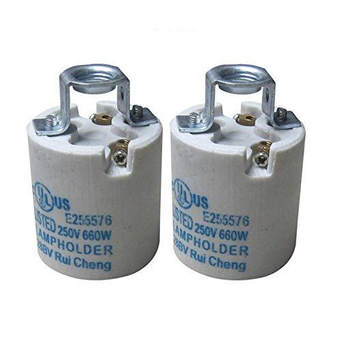 Kamas 20pcs Ceramic lampholder E14 e27 base lamp holder lighting fittings accessories screw E14 flame retardant - (Base Type: E27)