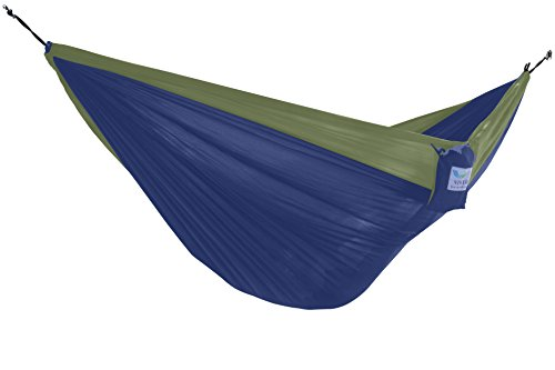 Vivere Parachute Nylon Double Hammock, Navy/Olive (Vivere Double Steel Stand Hammock Fabric With)