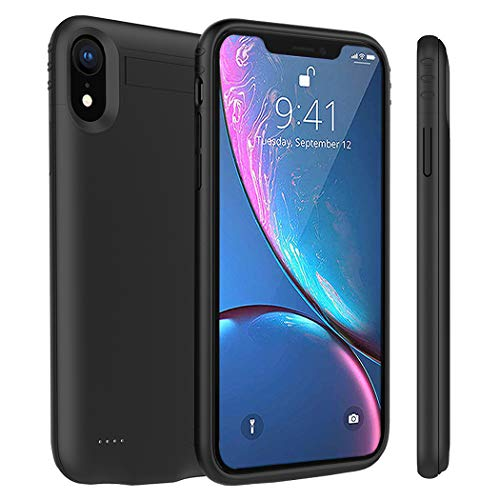 iPhone XR Battery Case, Euhan 4200mAh Slim Rechargeable Power Charging Case for iPhone XR (6.1 inch) Extended Battery Pack Protective Charger Case with kickstand,Compatible with Wire Headphones(Blac