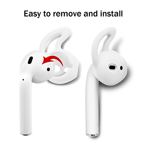 Airpods Earbuds Cover Earhooks Headphone Accessories for Apple Air Pods -3 pairs ( 2 White+ 1 Black )