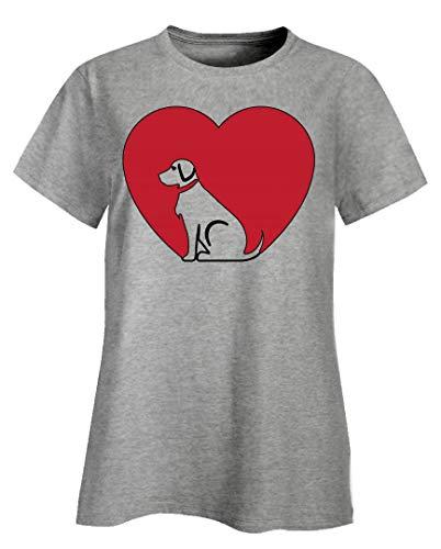 (German Shorthair Pointer - Best Friend Canine Dog Breed Family - Ladies T-Shirt Ash Grey )