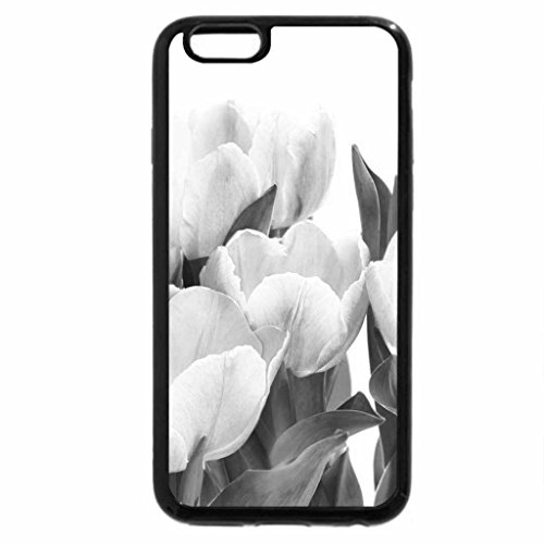 iPhone 6S Case, iPhone 6 Case (Black & White) - Delicate fuschia flowers