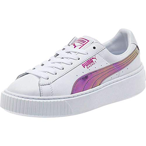 Puma Womens Basket Platform Leather Low Top Lace, Puma White-Hollyhock, Size 7.0