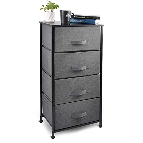 CERBIOR Drawer Dresser Storage Organizer Unit 4-Drawer Closet Shelves, Sturdy Steel Frame Wood Top with Easy Pull Fabric Bins for Clothing, Blankets- Charcoal