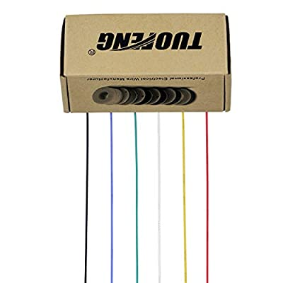 TUOFENG Electric wire, Hook up Wire Kit Flexible Silicone Wire(6 different colored 23 Feet spools) 600V Stranded Wire High Temperature Resistance