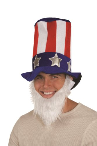 [Jacobson Hat Company Men's Uncle Sam Velvet Top Hat with Beard, Multi, One Size] (Velvet Uncle Sam Top Hat)