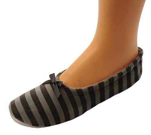 Damen Ballerinas Hausschuhe Ballettschuhe Farbe: grau geringelt, Größe: 40/41