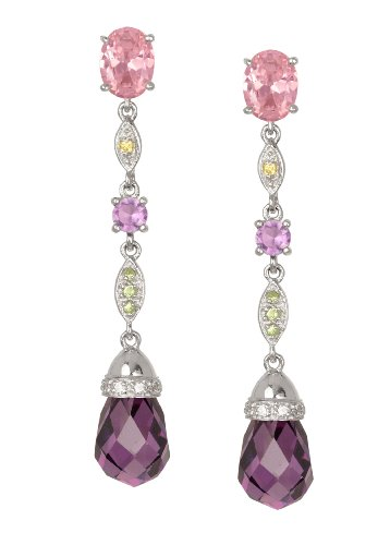 - Studio 925 Tutti Frutti Multicolored CZ Sterling Silver Earrings with Amethyst CZ Briolette Drop