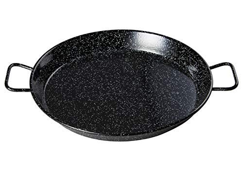 Winco CSPP-23E, 23-5/8'' Paella Pan, Enameled Carbon Steel Spanish Mediterranean Food Fry Pan, Spanish Frying Pan with Handles