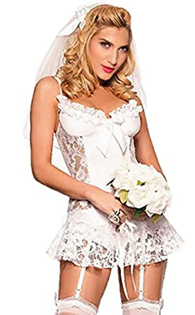 Sexy bride costume white bride fancy dress costume for Sexy wedding dress costume