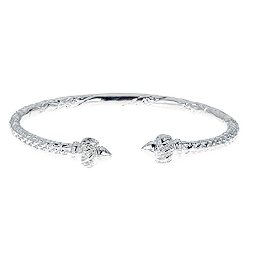 Better Jewelry Ridged Arrow .925 Sterling Silver West Indian Bangle (40 Grams) -