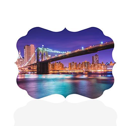Sign Destination Aluminum Metal Wall Decor City Bridges Brooklyn Bridge at Night in New York Horizontal Architecture Photo Print Wall Art - Benelux Shape, 12