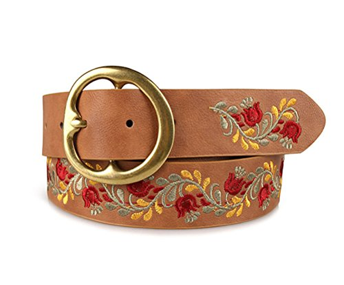 Women Classic Embroidered Belt Chic Wide Pin Buckle Vintage Classic Waist Belt (camel)
