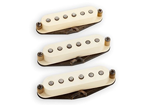Seymour Duncan Antiquity Texas Hot Strat Single Coil Pickup Set Aged White 11028-01 w/Bonus Beverage-Opener Keychain 800315040605
