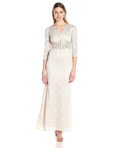 Alex Evenings Women's V-Neck Lace Evening Gown with Beaded Waist Dress, Cream, 14