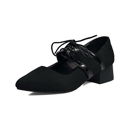 Balamasa Ladies Pointed-toe Bandage Chunky Tacones Suede Pumps Zapatos Black