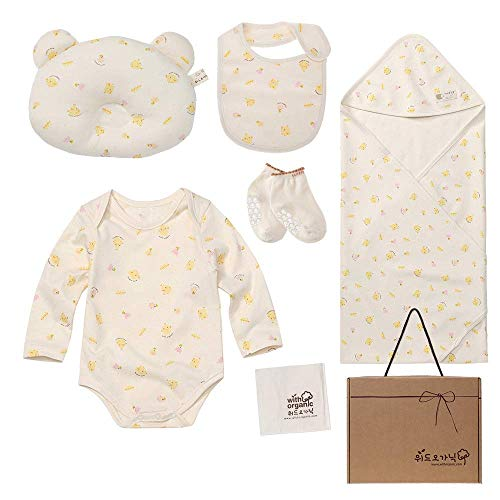 7 Pieces for Baby Boy or Girl WithOrganic Newborn Gift Set 100/% Organic Certified Cotton
