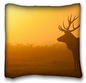 Generic Personalized ( Animal Deer ) Popular 16x16 inch One Side Pizza Rectangle Pillowcase suitable for Twin-bed PC-White-2682