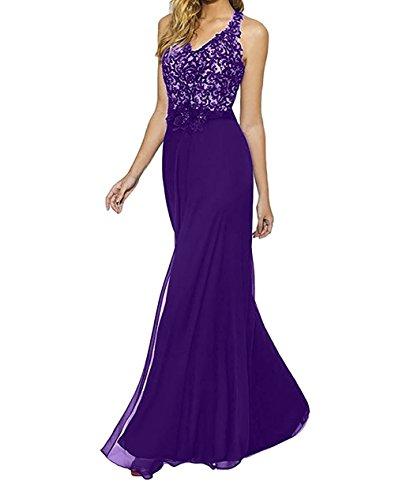 Bodenlang Spitze mia Brautmutterkleider Lila Etuikleider Elegant La Braut Festlichkleider Neckholder Abendkleider Blau Partykleider AnBgq