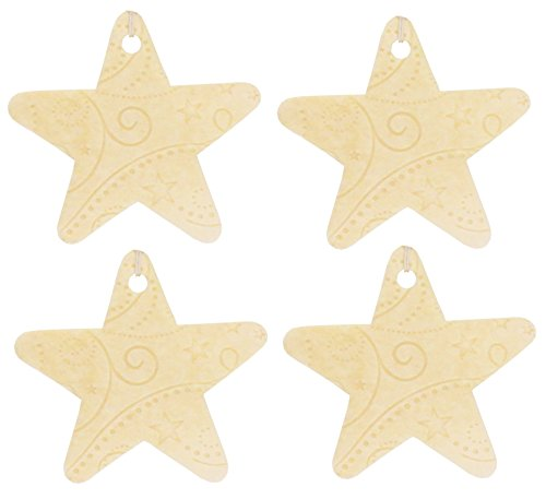 Set of Four Star Shaped Air Fresheners With Embossed Pattern, Chocolate
