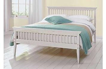Comfy Living Kingsize Bed Wood Frame 5ft Shaker White Amazon Co