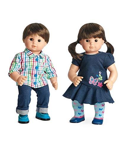 American Girl Bitty Twin Dolls - Brown Hair, Brown Eyes Boy and Girl