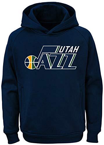 (Outerstuff NBA Youth Team Color Performance Primary Logo Pullover Sweatshirt Hoodie (Large 14/16, Utah)