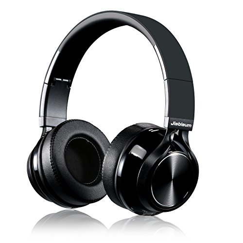 Bluetooth Headphones Over Ear, Jiebleum Wireless Bluetooth Headphones with Mic, Soft Memory-Protein Earmuffs Sport Wireless Headset, Wired and Wireless Foldable Headphones for Phone/TV/PC (Dark Black)
