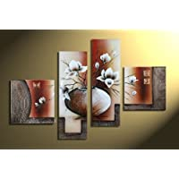 Wieco Art Allungato e incorniciato 100% Tela Dipinta a Mano Wall Art Elegant Flowers Home Decorazione Floreale Olio su Tela 4pcs/Set