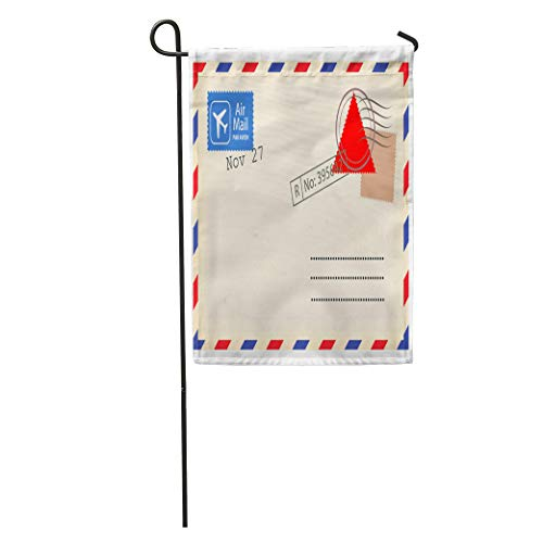 Semtomn Garden Flag Old Airmail Back Border Post Send Stamp Blank Home Yard Decor Barnner Outdoor Stand 28x40 Inches Flag -