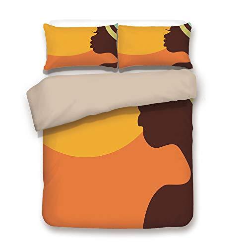 Duvet Cover Set,BACK Of Khaki,African Woman,Teenage Girl Pretty Face Profile Abstract Sunset Calm Evening Decorative,Orange Salmon Dark Brown,Decorative 3 Pcs Bedding Set by 2 Pillow Shams,Full