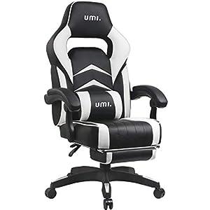 Amazon Brand – Umi Chaise Gaming de Bureau Fauteuil Gamer en Cuir PU Conception Ergonomique avec Repose-Pieds…