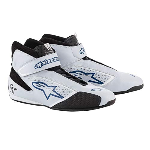 Alpinestars Tech 1-T Driving Shoes FIA - 2019 Model - Silver/Blue - Size 9.5 (2710119-197-9.5)