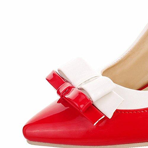 Mee Shoes Damen modern süß Mischfarbe mit Schleife Trichterabsatz spitz Geschlossen Lackleder Pumps Rot und Weiß