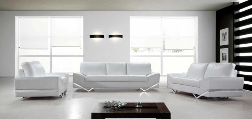 Vanity White Leather Modern Sofa Set Contemporary