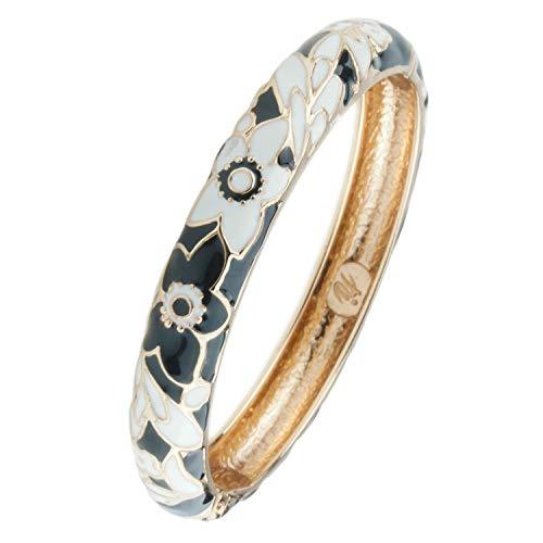 Enamel Silver Vintage Bracelets - UJOY Colorful Cloisonne Handcraft Bracelet Bangle Rhinestone Spring Hinge Vintage Enamel Jewelry Womens Gifts with Box 55A101 Black