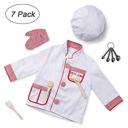 Kids Chef Costume Set,Cooking Dress up Role Play Clothes for Festival Stage Performance Cosplay Costume,Children 3-6 Years -