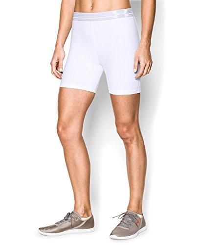 Under Armour Sportswear - BHS Heatgear Alpha Mid - Pantalones cortos de fitness para mujer Blanco/Blanco