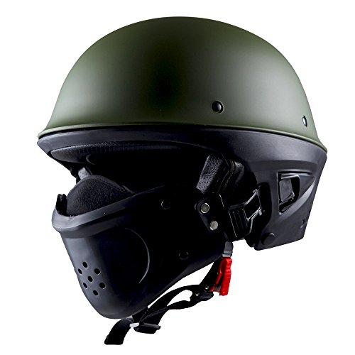 1STorm Motorcycle Half Face Helmet Death Trooper Matt Green, Size X-Large Size XL (59-60 CM,23.2/23.6 Inch)
