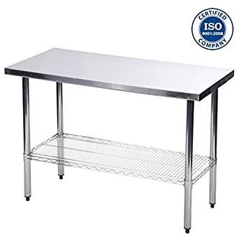 Beau Cirocco 2 Tiers Stainless Steel Kitchen Work Table Counter Height With Wire  Shelf (24u0026quot;