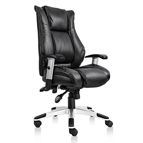 Bonded Leather Chair - VO Furniture High-Back Executive Chair Bonded Leather Adjustable Desk Office Chair Swivel Comfortable Rolling Chair with Arms and Wheels (Black)