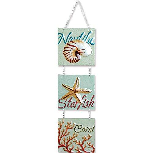 Premier Kites 81188 Tri-Panel Glass Expression Hanging Banner, Shell Trio -
