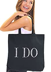 Black I Do Diamond Motif Rhinestone Totes
