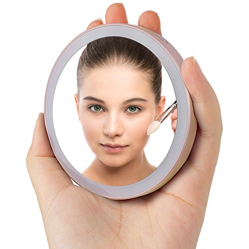 Travel Vanity Makeup Mirror with LED Lights, [Emergency R...