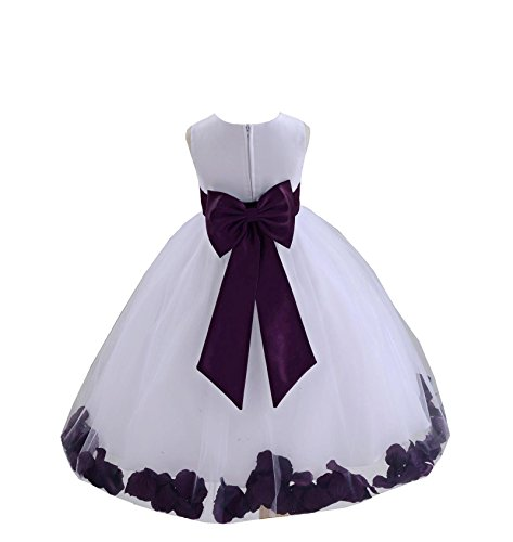 Wedding Pageant Flower Petals Girl White Dress with Bow Tie Sash 302a