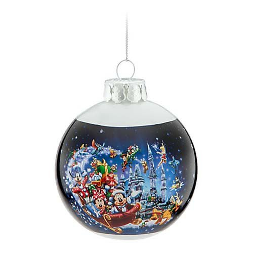 Santa Glass Ball Ornament - Disney Parks Magic Kingdom Glass Ball Christmas Ornament Santa Mickey and Friends
