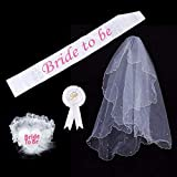 4PCS White Bride to Be Hen Night Bachelorette Party Veil Set - Bridal Shower Decorations Kit Engagement Supplies Wedding Favors Decor Naughty Photo Sash She Said Yas Same Forever Miss to Mrs. Banner