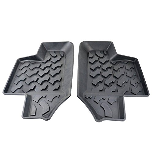 Opar Black Rubber Rear Row Floor Mats Liner Carpets for 2007-2017 Jeep Wrangler JK 2-Door