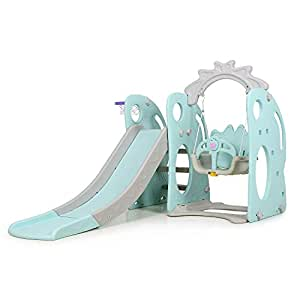PlayEasy Climber and Swing Set Combination of Swing Slide Basketball Hoop Rabbit with Big Eyes Indoor Backyard Slide Playground 3-in-1 Mint Green