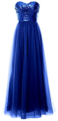 Long Formal Wedding Blue Bridesmaid Women Sequin Gown Dress Party Royal Strapless MACloth 5Rwg8Zqxx